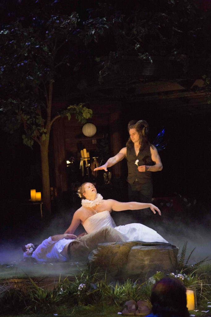 From left: Stephen Ouimette (left) as Bottom, Evan Buliung as Titania and Jonathan Goad as Oberon in A Midsummer Night's Dream. Photo by Erin Samuell.