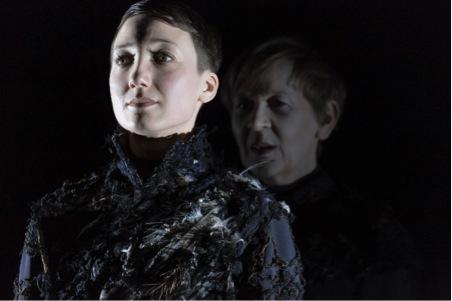Picture Jan Versweyveld, showing Hamlet (Abke Haring) and Yorick's ghost (Katelijne Damen)