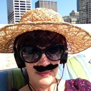 fake moustache, floppy hat