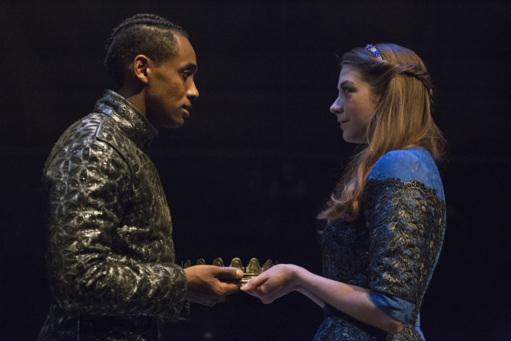 Araya Mengesha as King Henry V and Mikaela Davies as Katherine in Breath of Kings: Redemption. Photography by David Hou.