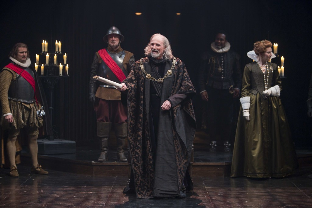 Colm Feore (center) as King Lear with members of the company in King Lear. Photography by David Hou.