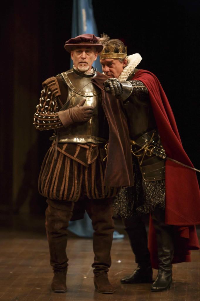 Wayne Best (left) as Hubert and Tom McCamus as King John in King John. Photo by David Hou.