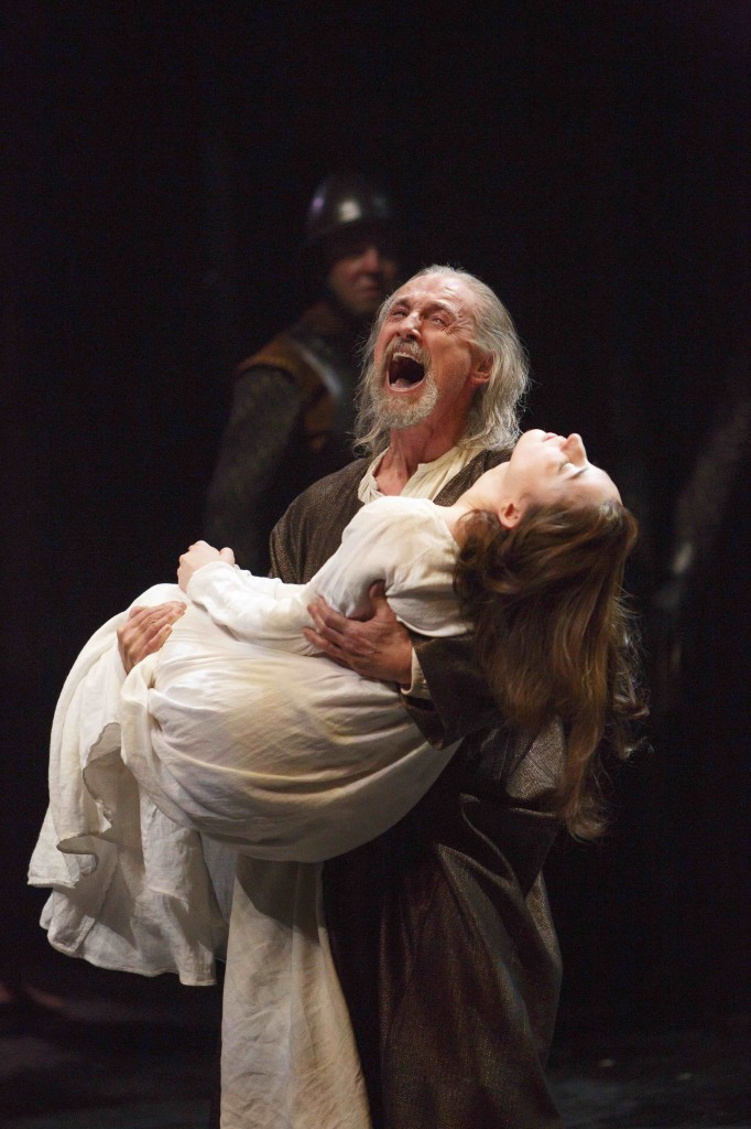 Colm Feore as King Lear and Sara Farb as Cordelia in King Lear. (Background: Victor Ertmanis) Photo by David Hou.