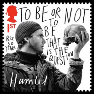 Hamlet and skull on stamp