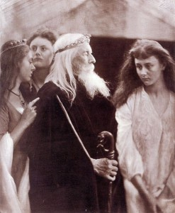 Julia Margaret Cameron 'King Lear allotting his kingdom to his three daughters,' 1872. Cameron was an amateur photographer with connections in the Pre-Raphaelite art world; her images are largely motivated by prevailing notions of moral and aesthetic beauty. In this image, her husband Charles Hay Cameron poses as Lear, with the three daughters played by the Liddell sisters: Lorina, Edith and Lewis Carroll's muse, Alice.