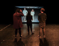 Copyright 2017 Mike Sewell (tel: 07966417114) Photograph by Mikey Sewell. Drama students at Coventry University rehearse King Lear with students in Finland via a live video wall.  (commissioned by Hannah Smith)