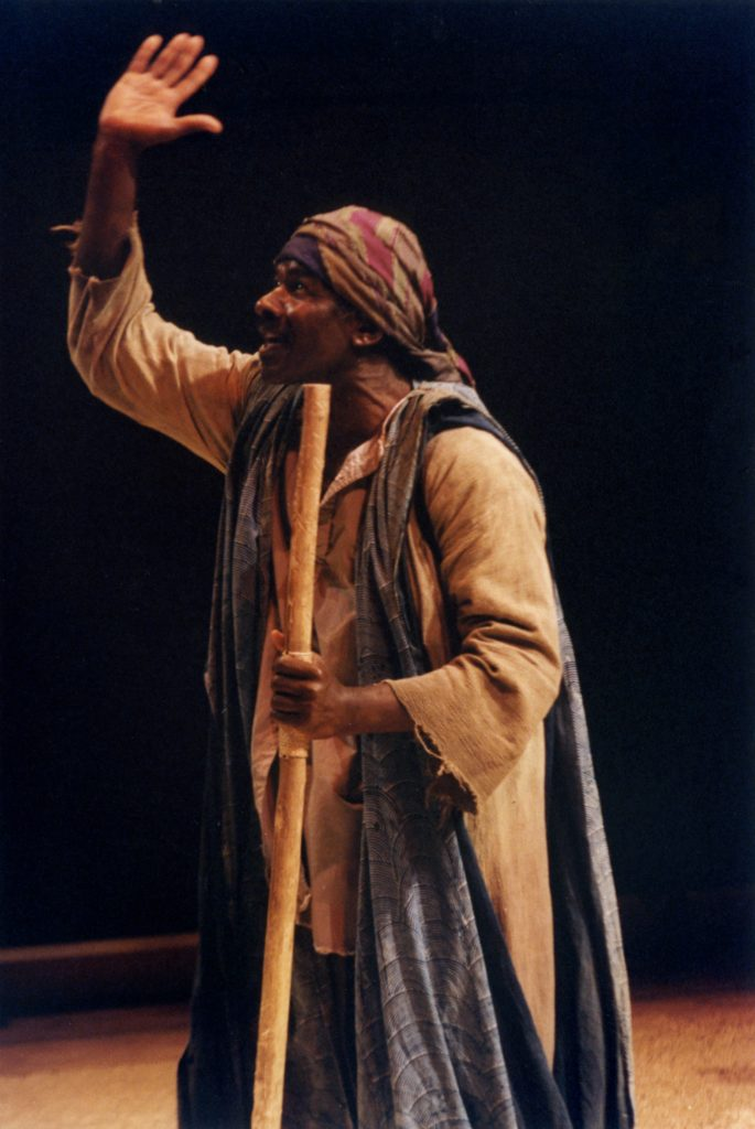 The Odyssey, directed by Derek Walcott and performed at The Other Place in 1992. Photography by Joe Cocks Studio (B.W.Thornton). Rudolph Walker as Blind Blue.